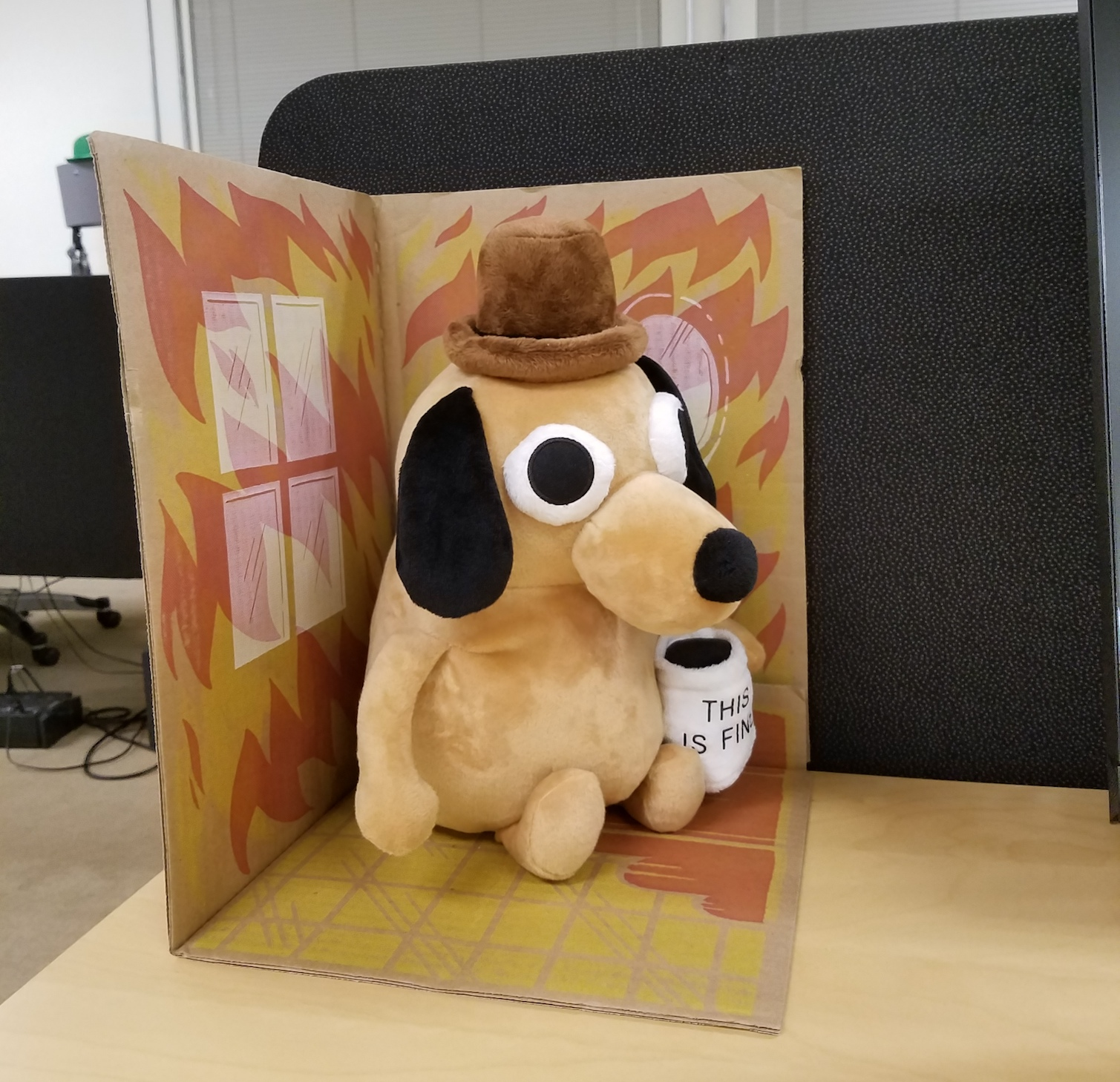 This Is Fine Dog Stuffed Animal, The Adventures Of The Decaffeinator